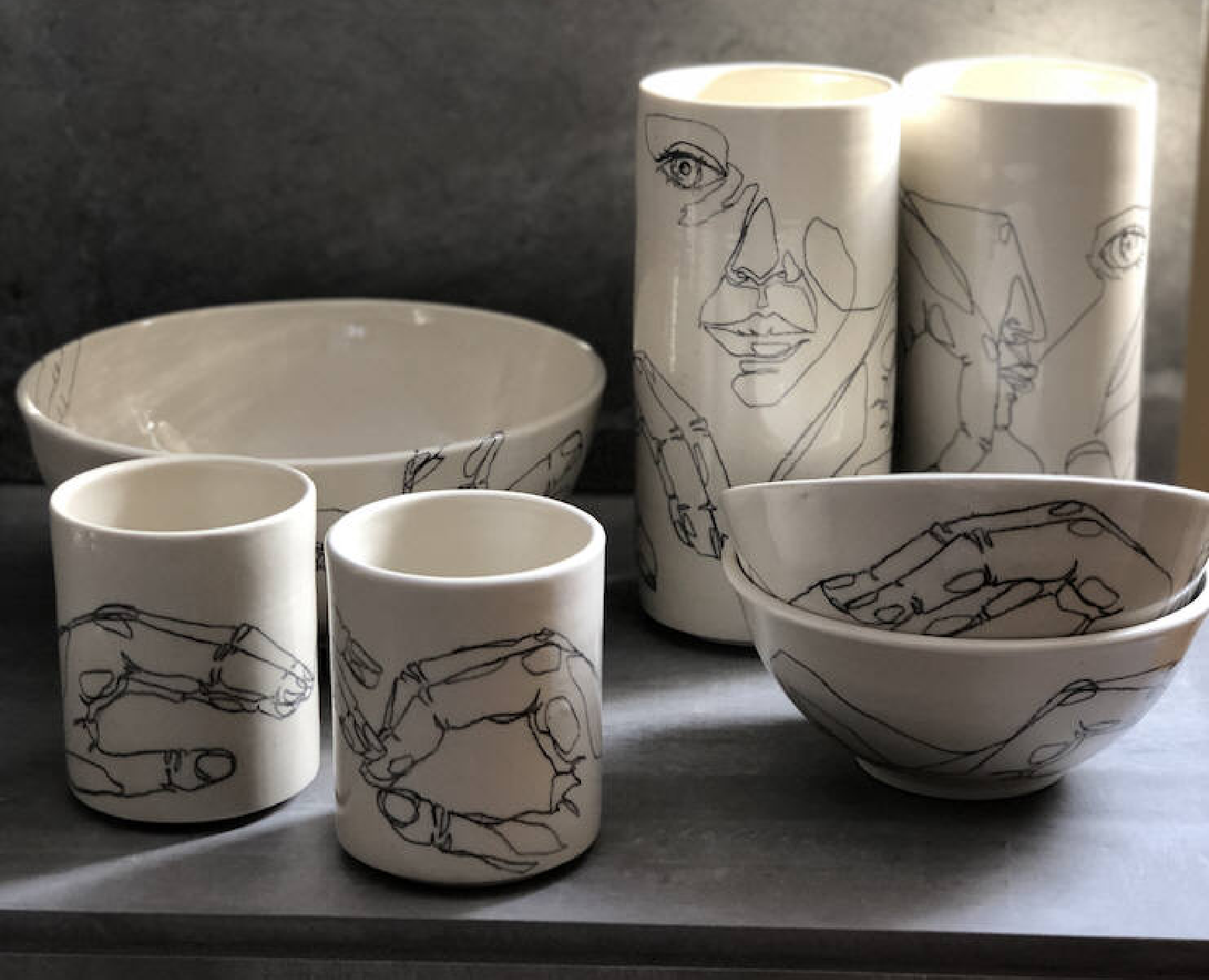 Hand-Drawn Porcelain Pottery