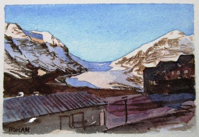 Columbia Icefield Chalet and Athabasca Glacier