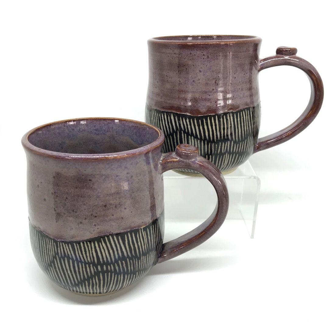 Black Sgraffito & Purple Mug