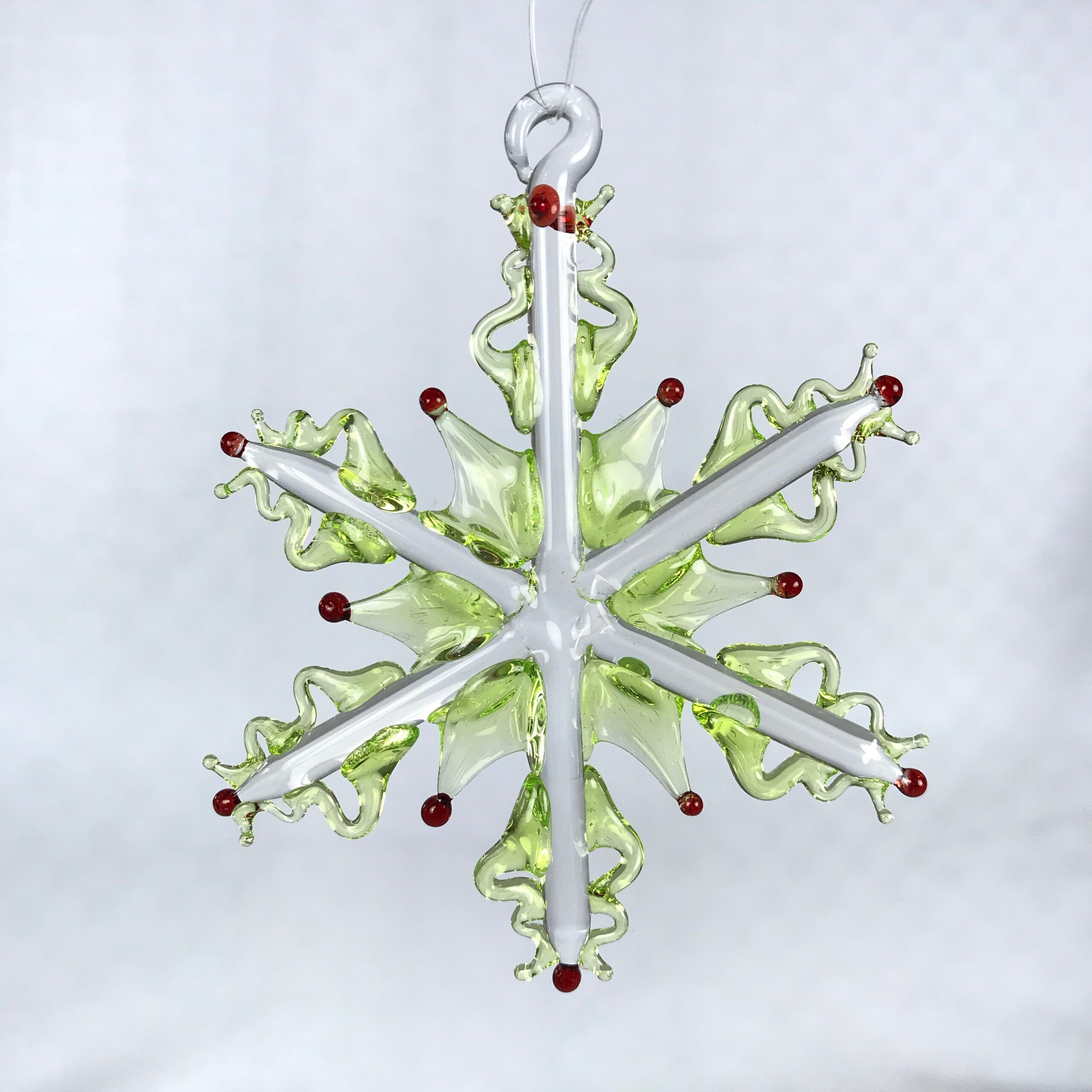 Light Green with Red Snowflake Ornament