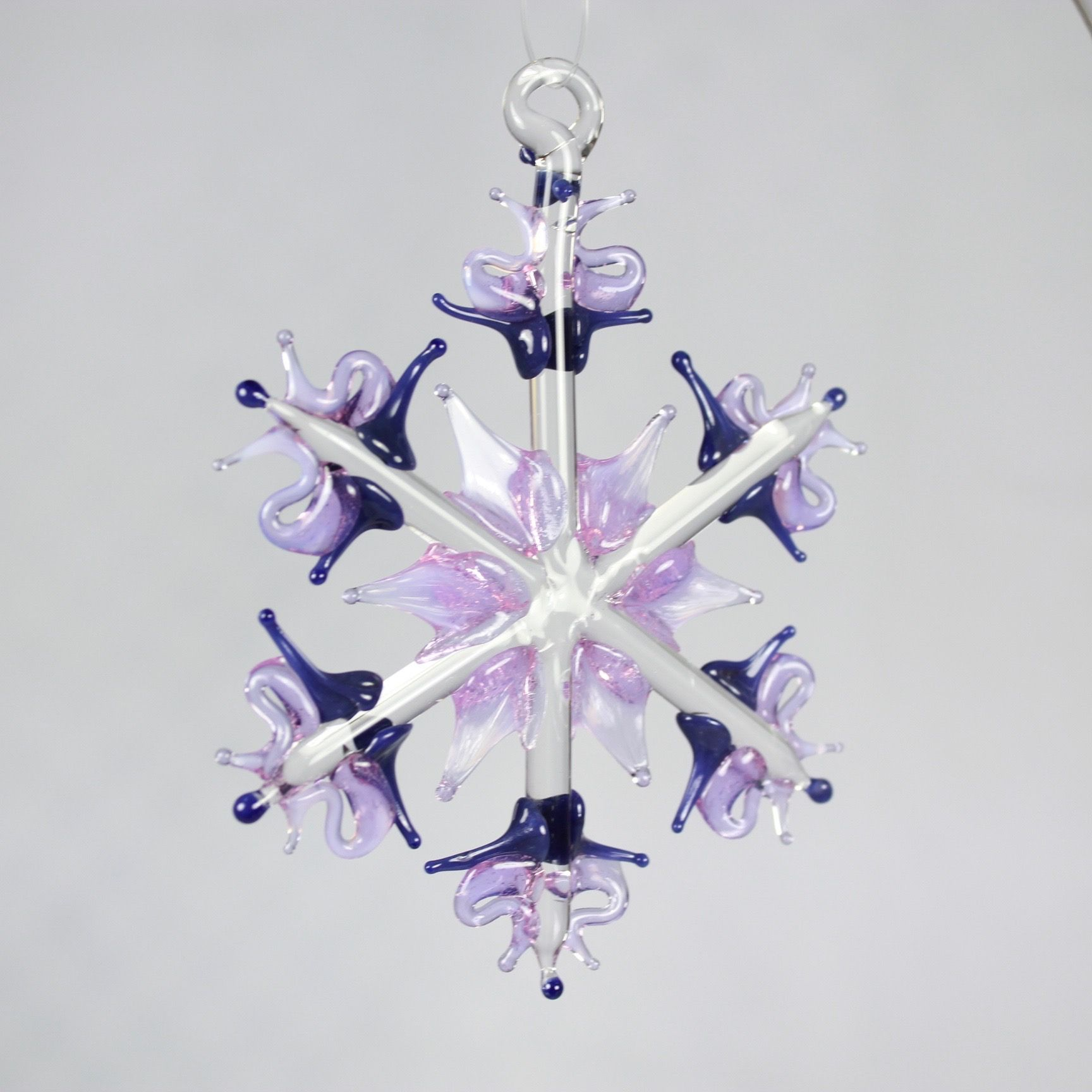 Lilac/Navy Snowflake Ornament