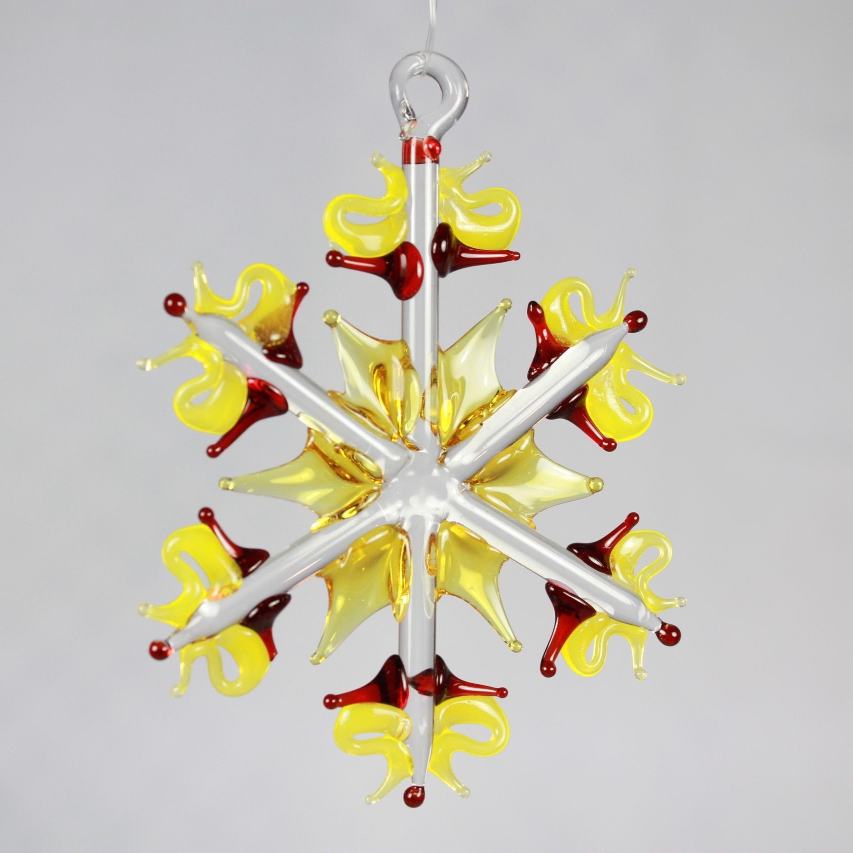 Yellow with Red Snowflake Ornament