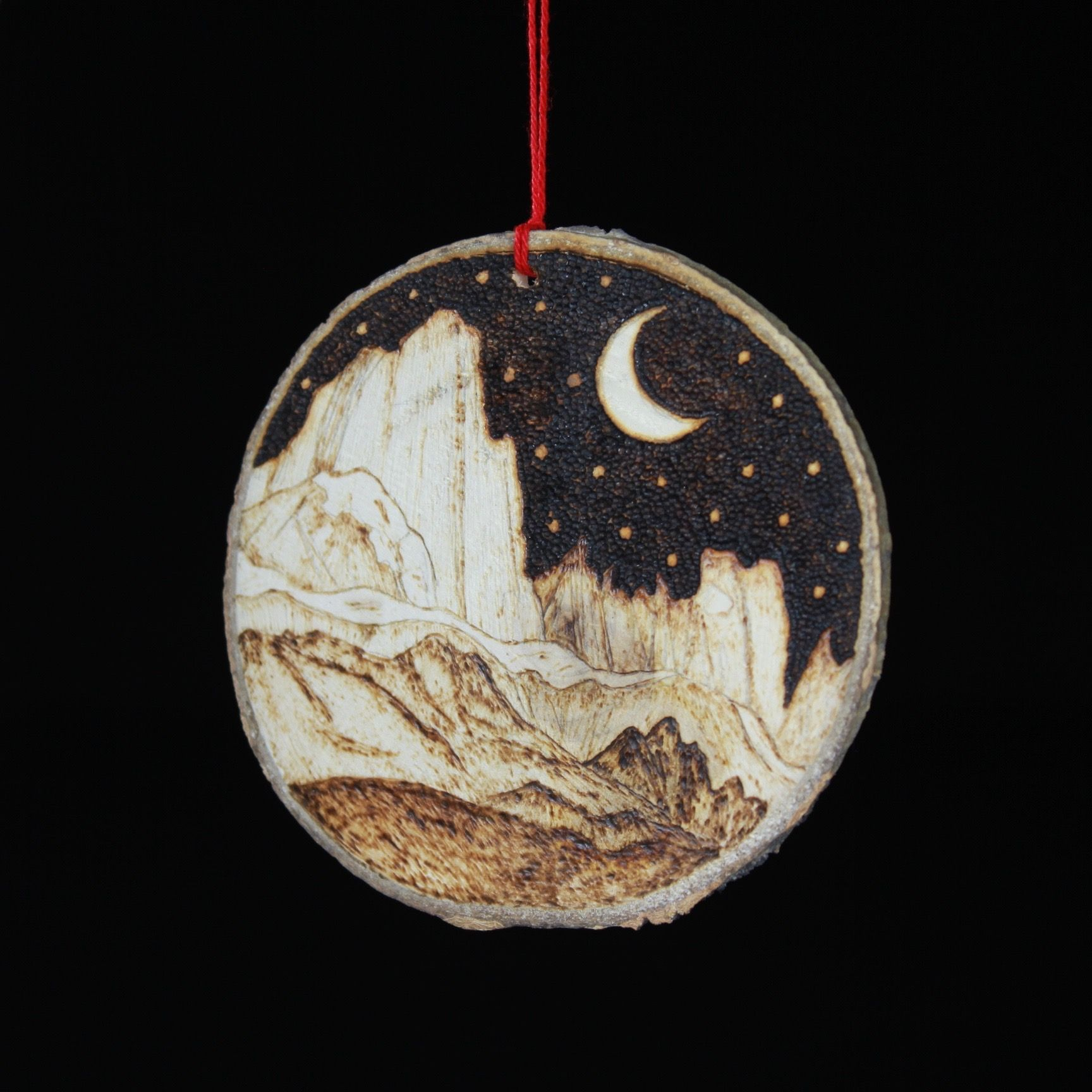 Mountains With Moon Ornament