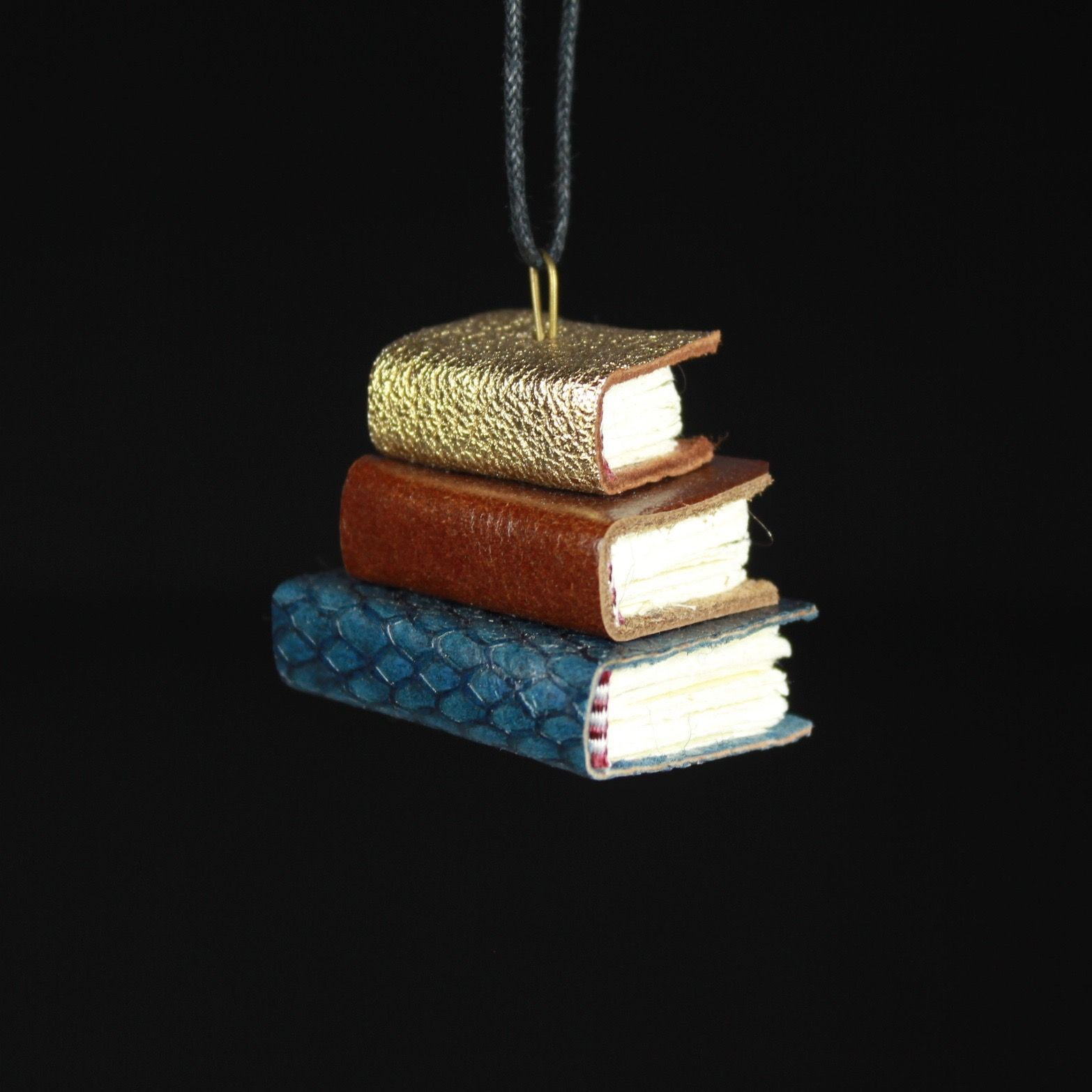 Gold, Brown, & Navy Book Ornament