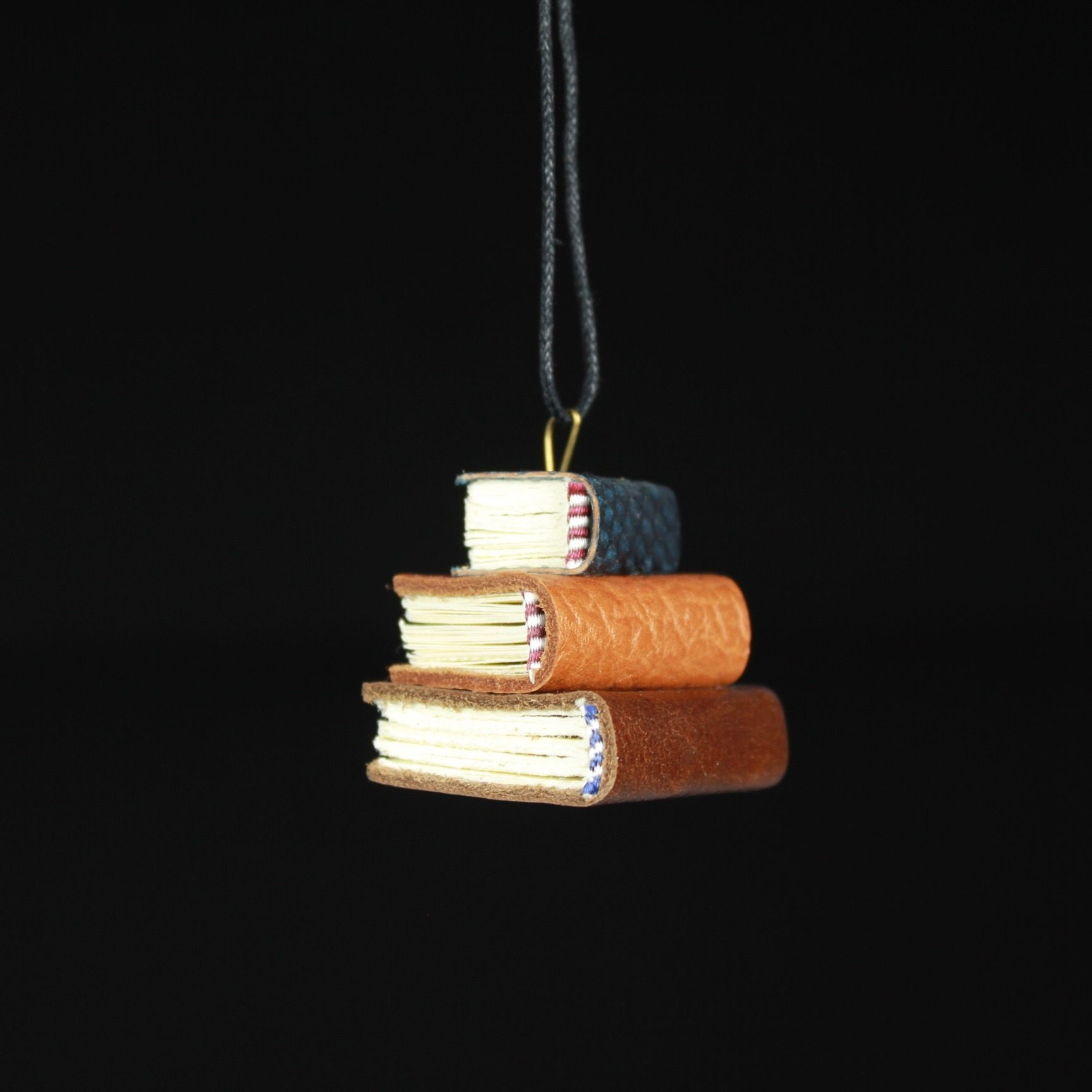 Navy, Tan, & Brown Book Ornament