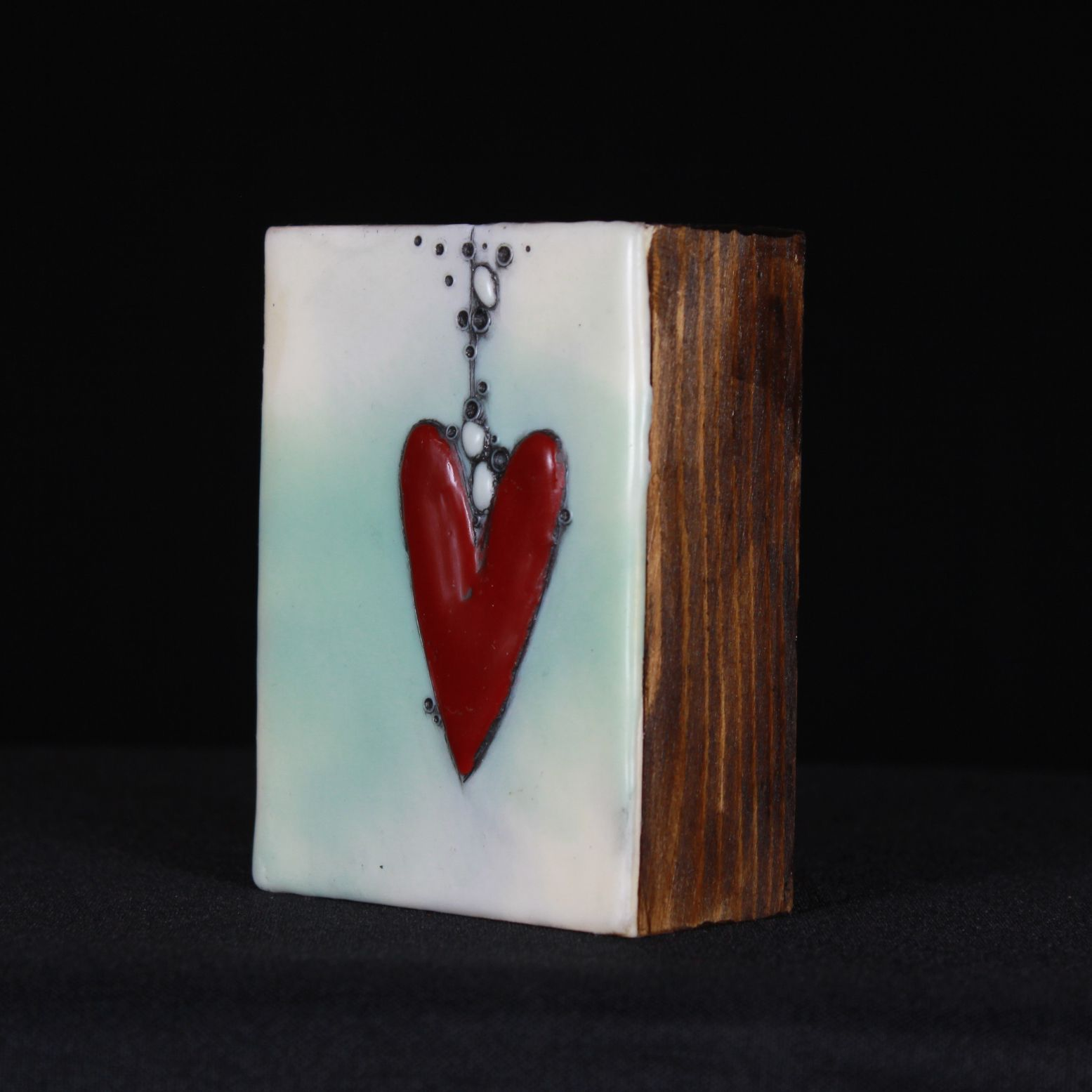 Dangling Red Heart with Misty White