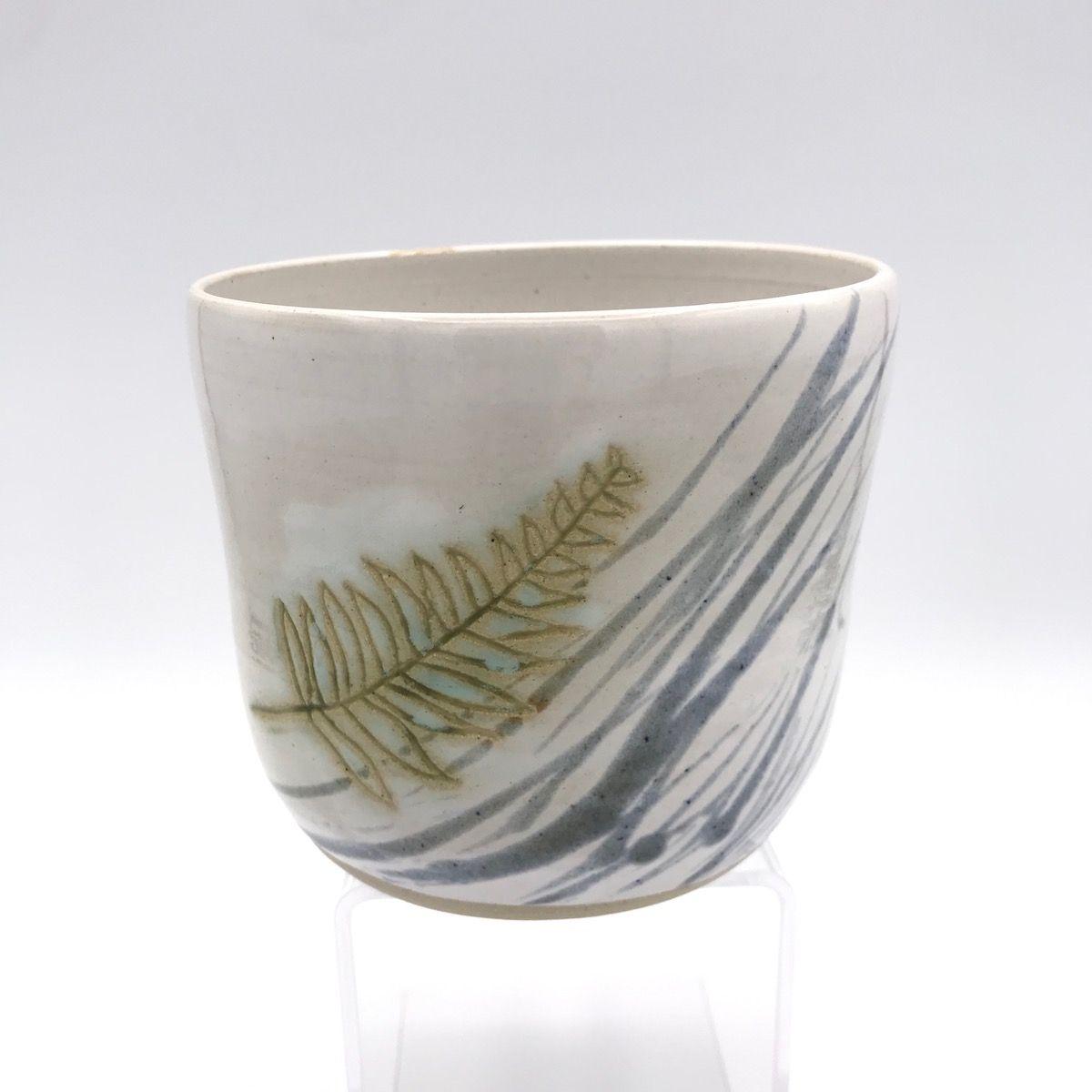 Fern with Blue Stripes Plant Pot
