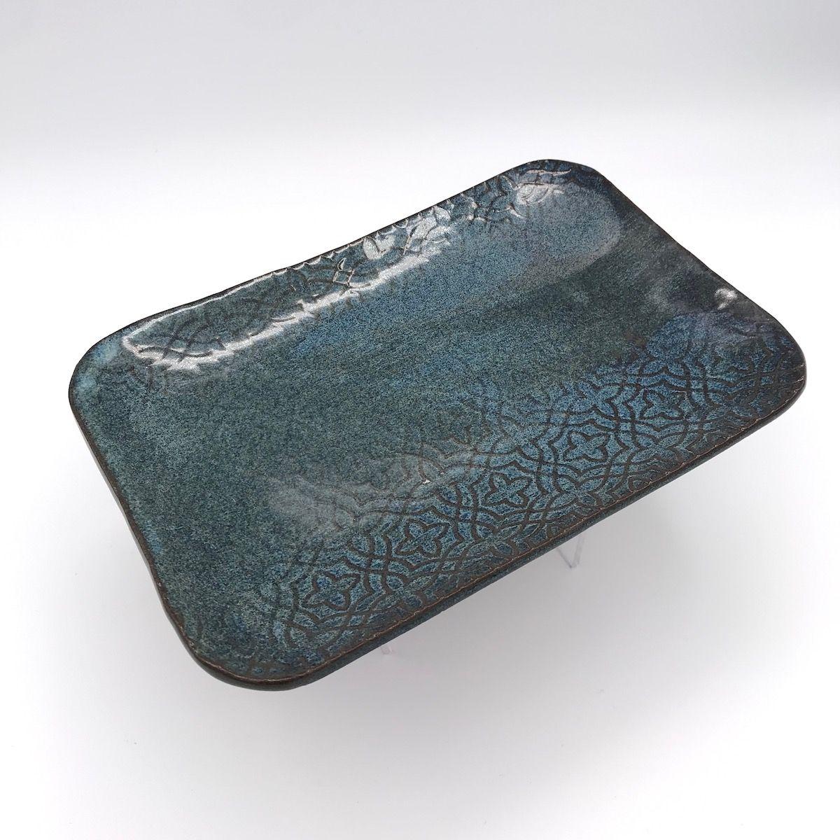 Blue Rectangular Plate